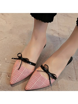 Pu Closed Toe Bow Stiletto Slip On Shoes