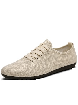 Cotton Lace Up Round Toe Mens Casual Shoes
