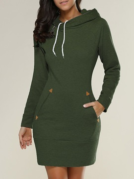 Hoodie Long Sleeve Pocket Womens Day Dress