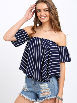 Slash Neck Stripe Blouse