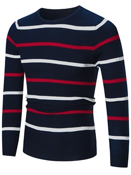 Round Neck Stripe Slim Mens Sweater