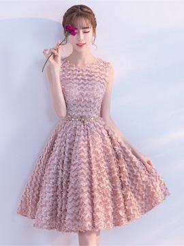Sweet Scoop A Line Lace Sashes Finished Fabric Knee Length Homecoming Dress