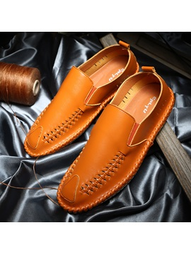 Pu Sewing Slip On Korea Mens Casual Shoes