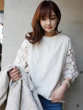 Loose Lace Patchwork Sleeve T Shirt