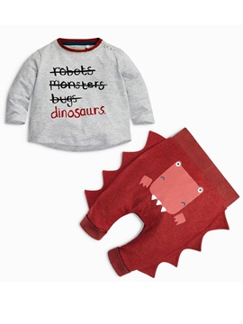 Alphabetic Shirt Dinosaur Casual Pants Babys 2 Piece Outfit