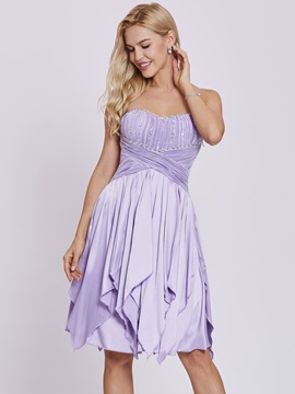 Sweetheart Lace Up Beaded A Line Homecoming Dress