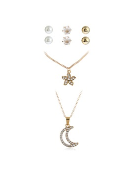 Floral Moon Pearl Inlaid Diamante Alloy Jewelry Sets
