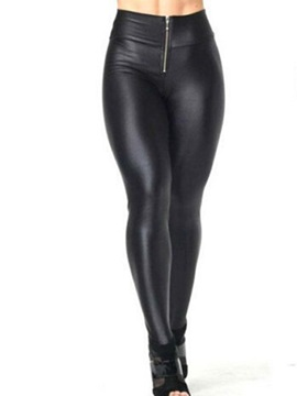 High Waist Faux Leather Zipper Leggings