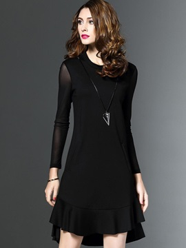 Black Round Neck Long Sleeve Knee Length Day Dress