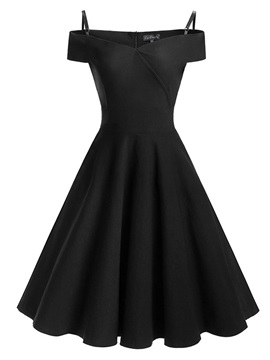 Black Short Sleeve Womens Skater Dress