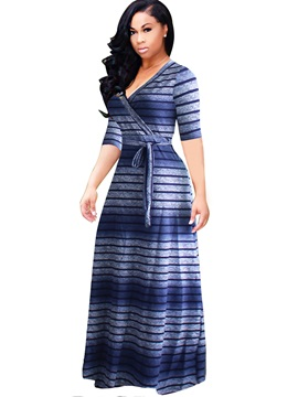 Stripe Half Sleeve Plus Size Maxi Dress
