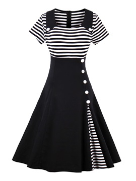 Short Sleeve Stripe Womens Skater Dress