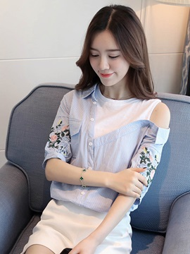Cold Shoulder Embroidery Patchwork Blouse