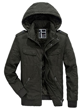 Hooded Plain Mens Cotton Coat