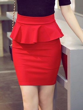 High Waist Falbala Bodycon Skirt