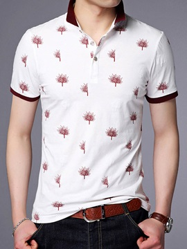 Lapel Plants And Flowers Printed Mens T Shirt