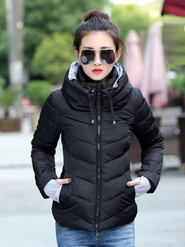 Stylish Plain Zipper Outerwear