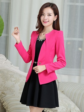 Fashion Chic Slim Plain One Button Blazer