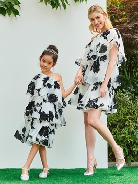 Parent Child One Shoulder Tiered Print Organza Girls Party Dress