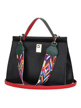 Colorful Belt Decoration Women Tote Bag