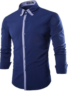 Lapel Cotton Blends Slim Mens Dress Shirt