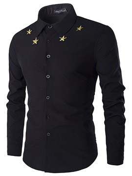 Lapel Stars Printed Mens Casual Shirt