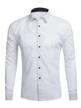 Lapel Cotton Blends Slim Plain Mens Dress Shirt