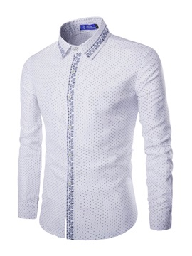 Lapel Polka Dots Mens Casual Shirt