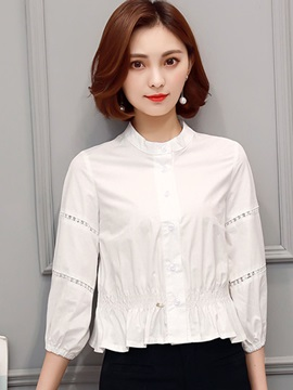 Stand Collar White Pleated Shirt