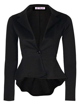 Slim Plain One Button Irregular Blazer