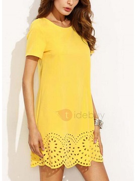 Short Sleeves Hollow Womens Dress