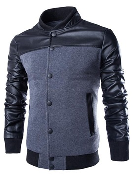 Stand Collar Patchwork Slim Mens Jacket