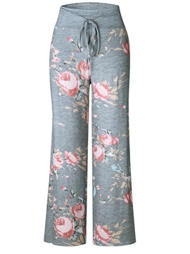 Lace Up Print Straight Casual Pants