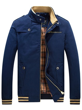 Stand Collar Plain Single Mens Coat