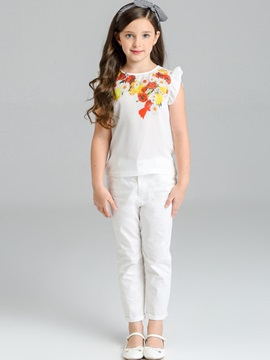 Lemon And Flower T Shirt Pants Girls 2 Piece Outfit