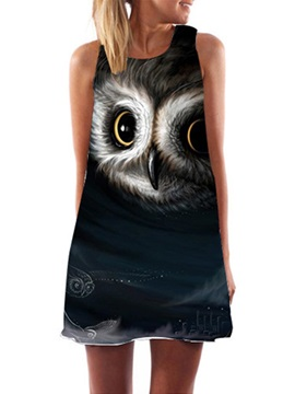 Owl A Line Sleeveless Round Neck Womens Day Dress