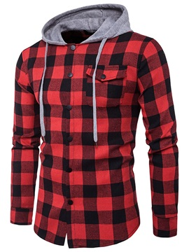 Hooded Plaid Pocket Mens Casual Shirt