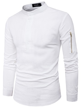 Stand Collar Loose Mens Casual Shirt