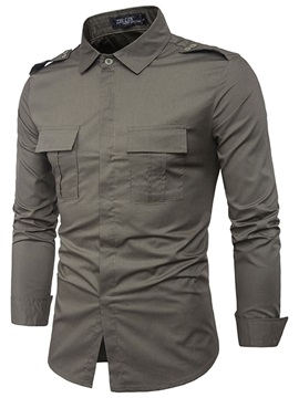 Tidebuy Lapel Plain Loose Mens Dress Shirt