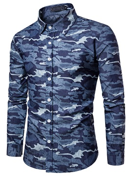 Lapel Camouflage Loose Mens Casual Shirt