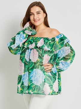 Plus Size Slash Neck Falbala Print Blouse