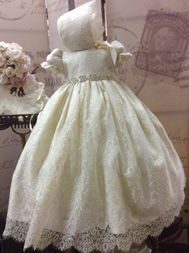 Vintage Short Sleeves Lace Baby Dress For Baptism