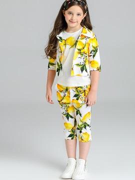Lemon Prints Girls 3 Piece Outfit