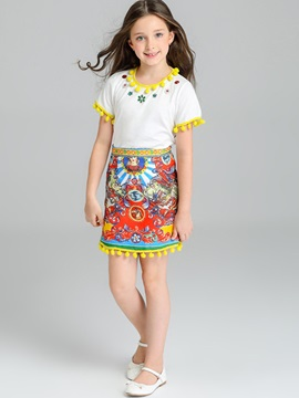National Style T Shirt Skirt Girls 2 Piece Outfit