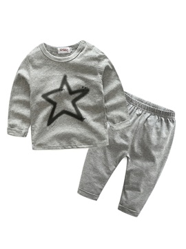 Pure Cotton Long Sleeve Star Pattern Babys 2 Piece Outfit