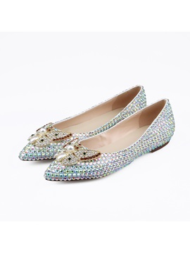 Pu Animal Pointed Toe Beads Rhinestone Flat Wedding Shoes