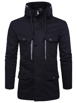 Hooded Solid Color Lace Up Mens Hoodie
