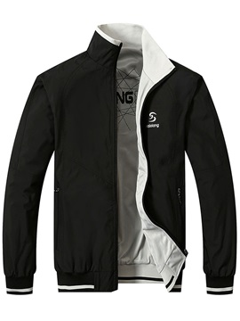 Stand Collar Solid Color Mens Jacket