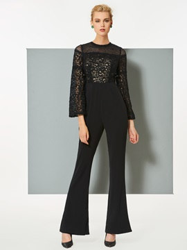 Chic Sheath Long Sleeves Lace Scoop Jumpsuit
