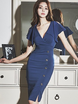 Dark Blue V Neck Womens Bodycon Dress